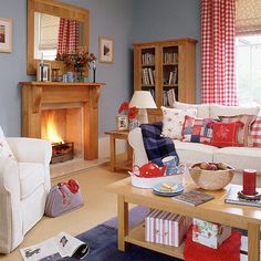 These are the shades of red, cream and blue that I want in the livingroom.