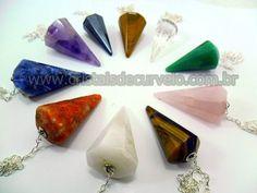 100 Pendulo Misto Varias Pedras Natural Lapidação Facetado ATACADO