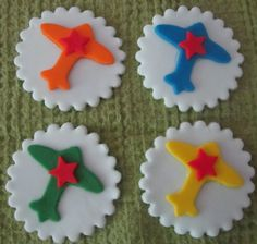 Could easily make these!  Airplane Cupcake Toppers by cakeorationstore on Etsy, $16.00