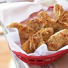 Oven-Baked Chicken Fingers | MyRecipes.com ...Heating your baking sheet prior to cooking ensures crispier results for your chicken fingers. Serve them with ranch dressing, barbecue sauce, or honey mustard for dipping.