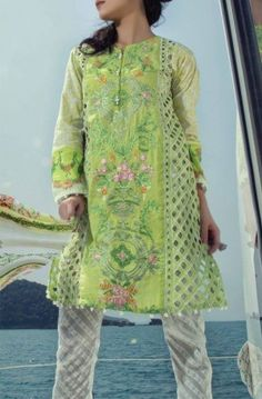Buy Maria B Lawn Online and Grab the most out of the latest Maria B Light green Embroidered  cotton lawn dress with embroidered front panel in just $154.99 Avail this offer before it ends.