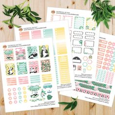 Printable weekly sticker kit for Erin Condren and other planners Happy Planner Kit, Create 365 Happy Planner, Free Planner, Planner Ideas, Planner Supplies, Printable Planner Stickers, Free Printables, Panda Party, Erin Condren