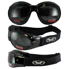 425a25261d Eliminator Black Frame Motorcycle Goggles With Smoke Shatterproof Anti-Fog  Polycarbonate Lenses.