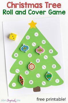 Christmas math activity for preschool. A fun Christmas tree game for young children! via @danielledb