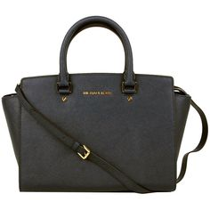 Michael Kors Womens Black Selma Large Leather Satchel (11.660 UYU) ❤ liked on Polyvore featuring bags, handbags, purses, borse, sacs, studded leather purse, michael kors purses, man satchel bag, leather man bags and hand bags