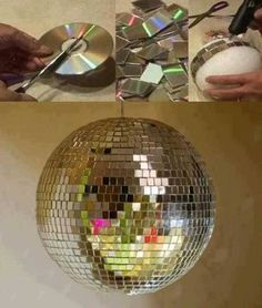 Disco Party Decorations, New Years Decorations, Party Themes, Ideas Party, Diy Ideas, Cd Diy, Old Cds, Cd Crafts, Silvester Party