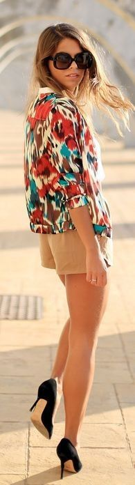 #ethnic #trend #outfitideas | Ethnic Bomber + Neutral Shorts