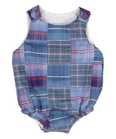 Blue & Red Plaid Alex Romper - Infant