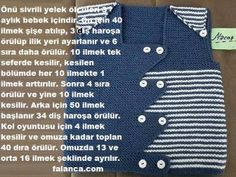 "diy_crafts-Sivri Önlü Erkek Bebek Yeleği Tarifi ""This post was discovered by Ays"", ""Discover thousands of images about Knitting inspiration"" Baby Knitting Patterns, Baby Patterns, Crochet For Kids, Crochet Baby, Baby Vest, Vest Pattern, Baby Sweaters, Spikes, Baby Kids"