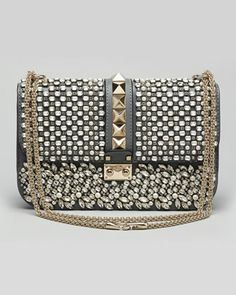 Valentino Glam Lock Medium Crystal Shoulder Bag // dream bag