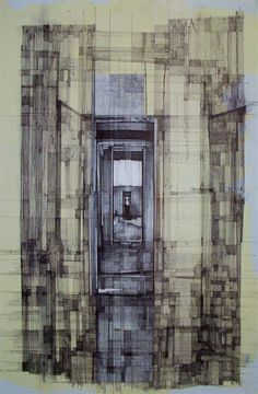 """""""Memory 004 (Loss)"""" Megan McGlynn architectural drawing, pen and ink, black and white, light  www.meganmcglynn.com"""