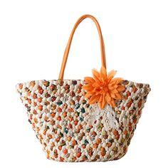 Lady Eco-friendly Floral Corn Husk Tote Bag NTS0124