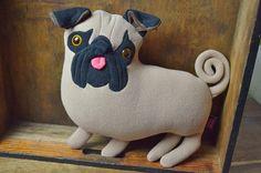 cute pug Plush Pug Doll Pug Gift Dog Lover Gift by kiziumonsters