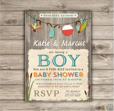 Fishing Baby Shower Invitations We're Reel Excited Printable Chalkboard Tackle Digital Aqua its a boy Rustic Oh Boy Boy Shower NV873