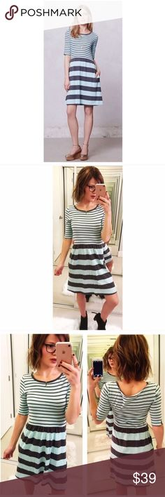⬅Anthropologie Saturday Sunday Harper Stripe Dress Simple silhouettes that you can throw on with a topknot and a pair of tennies to be tomboy-chic and out the door in five minutes flat. Or dress it up for a feminine look. I love the pockets and the mini slits at the hem of the 3/4 sleeves.  Pullover styling Cotton Machine wash 💕Offers welcome. Take 30% off your entire purchase automatically at checkout when you use the bundle feature, or make an offer for your bundle. Happy Poshing!💕…