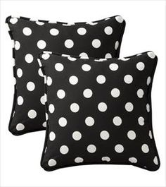 Black Toss Pillow with White Polka Dots - Set of 2