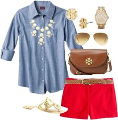 Need to try to copy this outfit - red shorts with chambray and gold accessories easy peasy