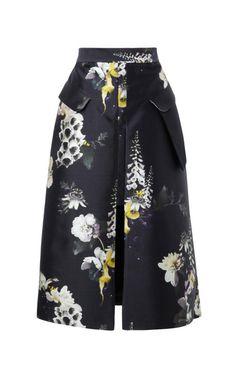{ Floral-Print Cotton Blend Skirt }