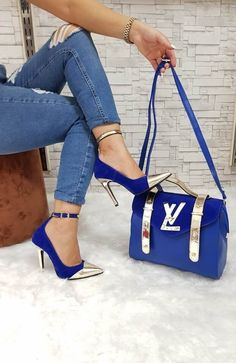 Blue jeans and shoes and bag Fashion Handbags, Purses And Handbags, Fashion Bags, Fashion Shoes, Stiletto Shoes, Shoes Heels, High Heels, Zapatillas Louis Vuitton, Louis Vuitton Shoes