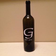 Custom Wine Bottle with Anniversary Date by KrystlesCraftCloset