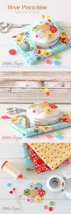 DIY: hexie pincushion sewing