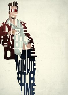 tyler durden brad pitt type typography fight club film movie quote quotes retro vintage