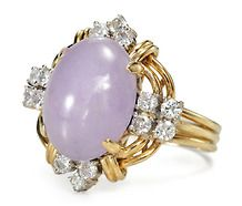 Lavender Jade Diamond Estate Ring $1,950