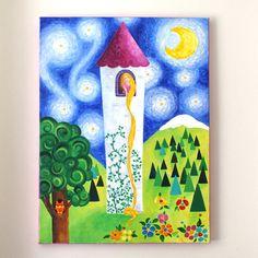 Art for Girls Room RAPUNZEL'S TOWER 18x24 acrylic by nJoyArt #art #kids #nursery #girls room #princess #rapunzel #fairytale