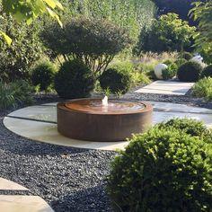 Water Features In The Garden, Garden Features, Garden Bed Layout, Back Garden Design, Low Maintenance Garden, Corten Steel, Back Gardens, Landscape Design, Landscape Architecture
