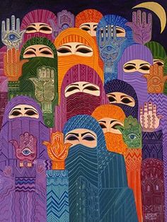Hand of Fatima by Laila Shawa (Palestine/UK) oils on canvas, 1992