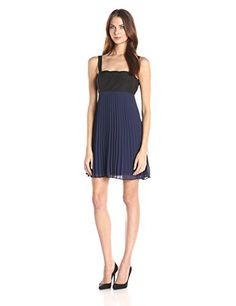 BCBGeneration Womens Pleated Dress with Scallop Deep Blue 6 >>> See this great product.