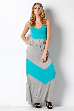 Gray and Jade Chevron Maxi Dress