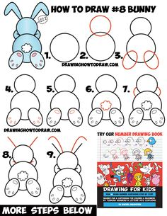 How to Draw a Cute Cartoon Sleeping Bunny Rabbit from #8 Shape Easy Step by Step Drawing Tutorial for Kids and Preschoolers