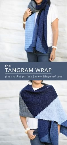 Download Tangram Wrap Scarf Crochet Pattern (FREE)