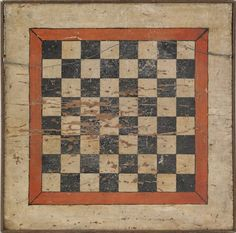 Pennsylvania painted pine gameboard, 19th c., 18 1/4'' x 18 1/2''.