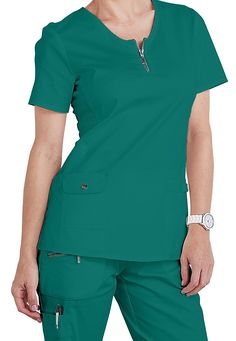 New color for Winter 2015! Check out our Beyond Scrubs Mia zip front top in Peacock!   Scrubs & Beyond