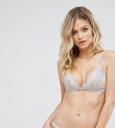 Peek & Beau Applique Triangle Bikini Top B-F Cup - Gray
