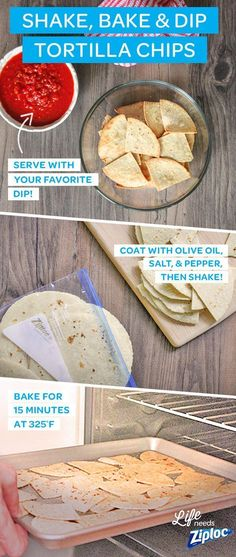 These easy tortilla chips are great for your next basketball or sports-themed party. They're a healthy, homemade alternative to fried snacks. Serve these delicious baked flour tortilla chips with your (Mexican Desert Recipes Flour Tortillas) Appetizer Recipes, Snack Recipes, Cooking Recipes, Appetizers, I Love Food, Good Food, Yummy Food, Tasty, Guacamole Salsa