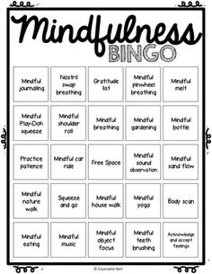 Mindfulness BINGO and Task Cards for School... by Counselor Keri   Teachers Pay Teachers