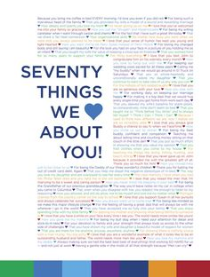 70 Things We Love About You Custom Birthday by DrawbridgeCreative