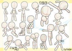 Drawing Cartoon Characters, Cute Cartoon Drawings, Art Drawings Sketches Simple, Animal Sketches, Figure Drawing Reference, Drawing Reference Poses, Boca Anime, Chibi Sketch, Drawing Body Poses