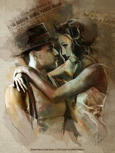 Beautiful art based on Bonnie and Clyde on Broadway with Jeremy Jordan and Laura Osnes