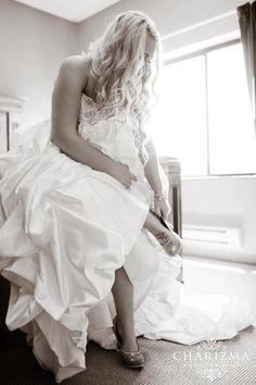 The bride dressing
