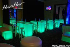 Dance Club Theme Bat & Bar Mitzvah & Party Ideas - LED Furniture, Green {Dynamic Events at Temple Tikvah} - www.mazelmoments.com/blog/19023/lounge-club-nightclub-theme-ideas-bar-bat-mitzvah-party-sweet-16/