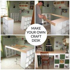 Craft room desk diy storage 43 Ideas for 2019 Diy Crafts Desk, Craft Room Desk, Cricut Craft Room, Diy Wood Desk, Diy Desk, Desk Organization Diy, Diy Storage, Ribbon Storage, Organizing Ideas
