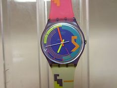 Stormy Weather 1989 GV100 Swatch Watch Vintage Swiss Quartz Wristwatch in Box | eBay