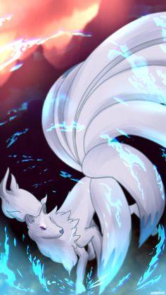 Ninetales (Shiny) by AutobotTesla on DeviantArt All Pokemon, Pokemon Fan Art, Pokemon Cards, Mythical Creatures Art, Fantasy Creatures, Ninetales Pokemon, Cute Pokemon Wallpaper, Anime Animals, Pokemon Pictures
