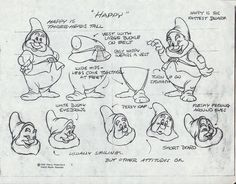 Concept design for Snow White and the Seven Dwarfs Cartoon Sketches, Disney Sketches, Disney Drawings, Cartoon Styles, Animation Library, Animation Reference, Animation Film, Disney Concept Art, Disney Art
