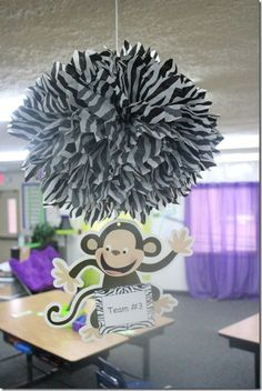 Cute Pom poms for your zebra classroom! @Amber Christ these would be cute for your room minus the monkey :)