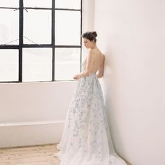 An ethereal beautiful Hannah Kong gown that is hand-painted. What about wearing a unique masterpiece on your special day? Be a Hannah Kong bride. Wedding Color Schemes, Wedding Colors, Wedding Styles, Bridal Gowns, Wedding Gowns, Blue Wedding, Dream Wedding, Whimsical Fashion, Beautiful Gowns